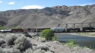 Horns announce Union Pacific Railroad mixed freight crossing of Truckee River bridge 5/9/2014