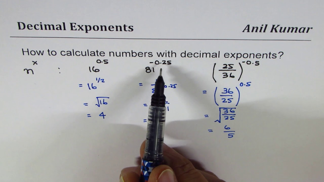 How to calculate Numbers with Decimal Exponents