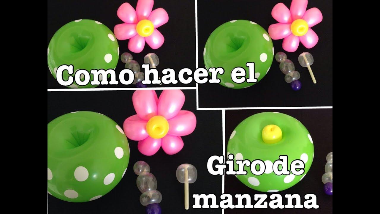 Como hacer el giro de manzana en globos largos o redondos - Hacer munecos con globos ...