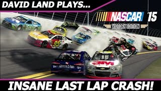 INSANE LAST LAP CRASH (David Land RETURNS to NASCAR 15 Victory Edition!) #5 DAYTONA NIGHT