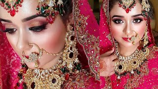Traditional Pakistani Bridal Look, Asian Bridal Makeup and Hair Tutorial