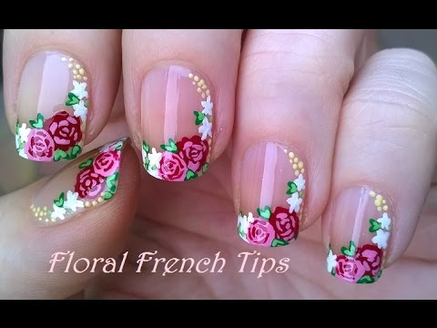 Side French Manicure In Fl Nail Art Design Using Acrylic Paint