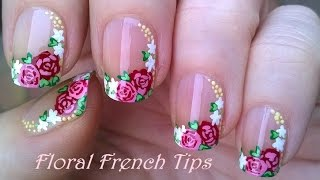 SIDE FRENCH MANICURE In Floral Nail Art Design Using Acrylic Paint