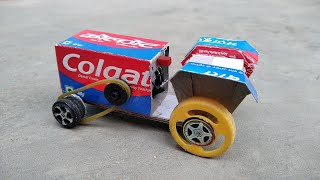 How to make tractor using Colgate box   how to make Paper tractor   cardboard craft