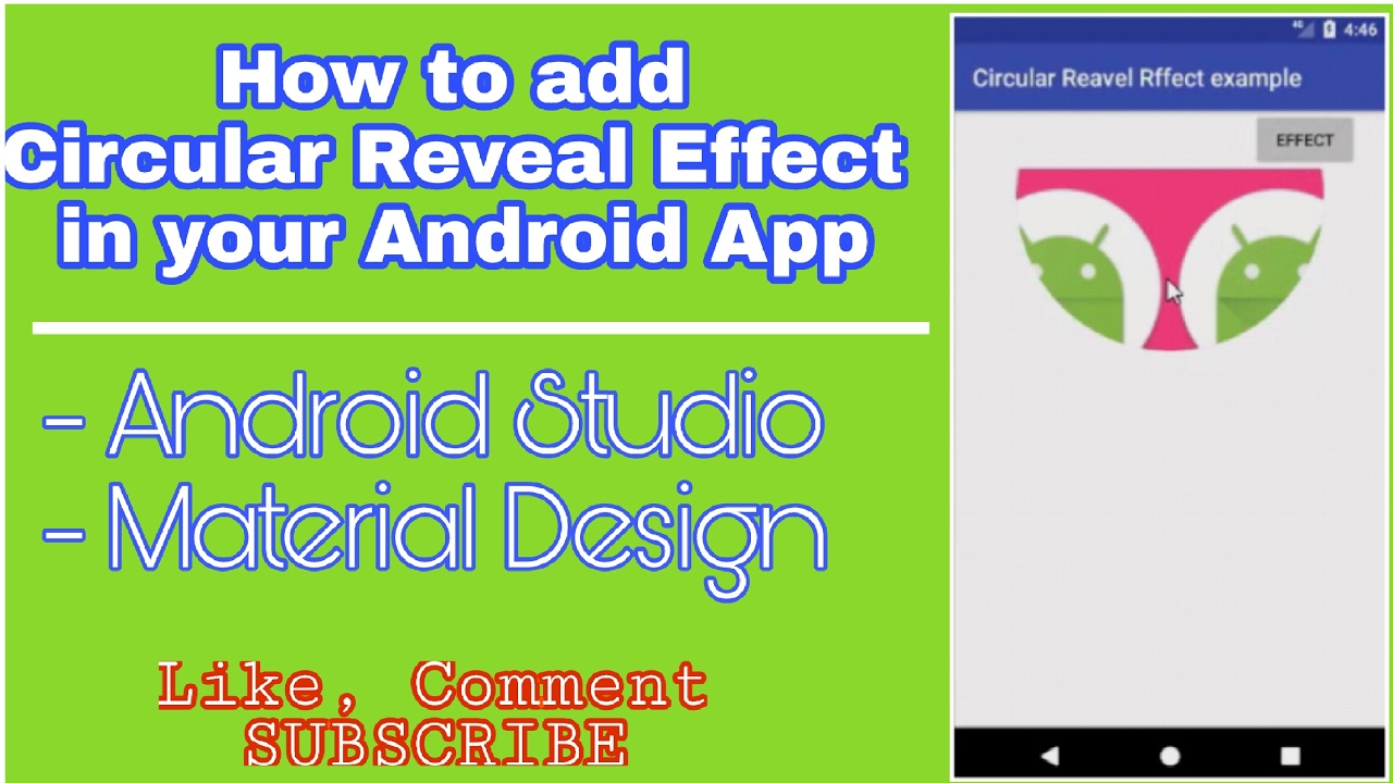 How to add Circular Reveal Effect to your Android App - Android Studio -  Material Design