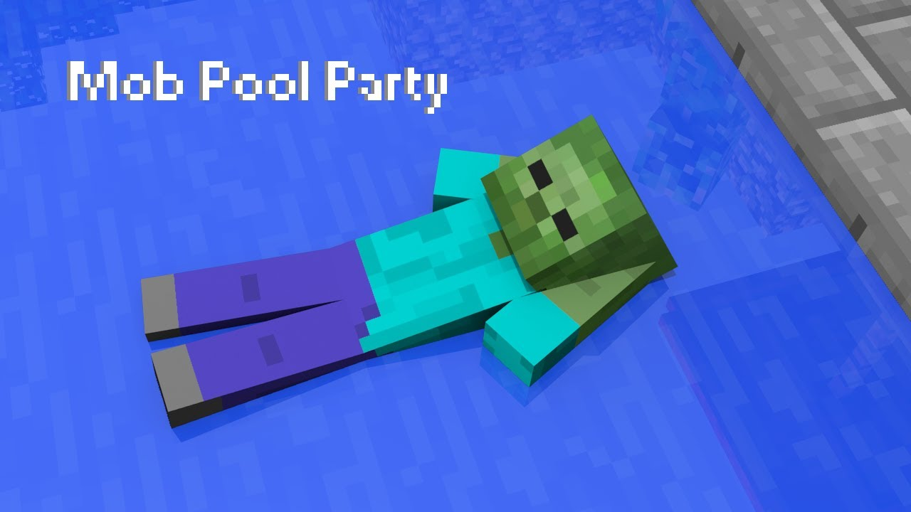 Mob pool party a minecraft animation youtube - How to make a pool party ...