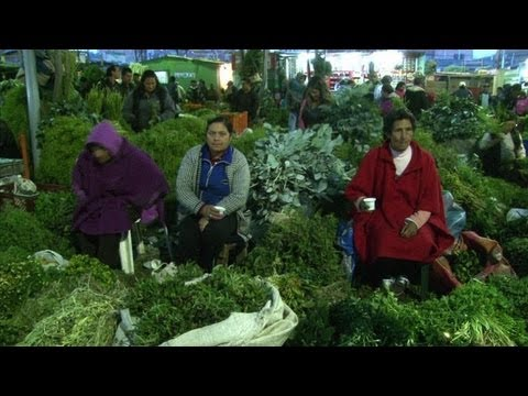 Medicinal plants sold at night in Colombian market