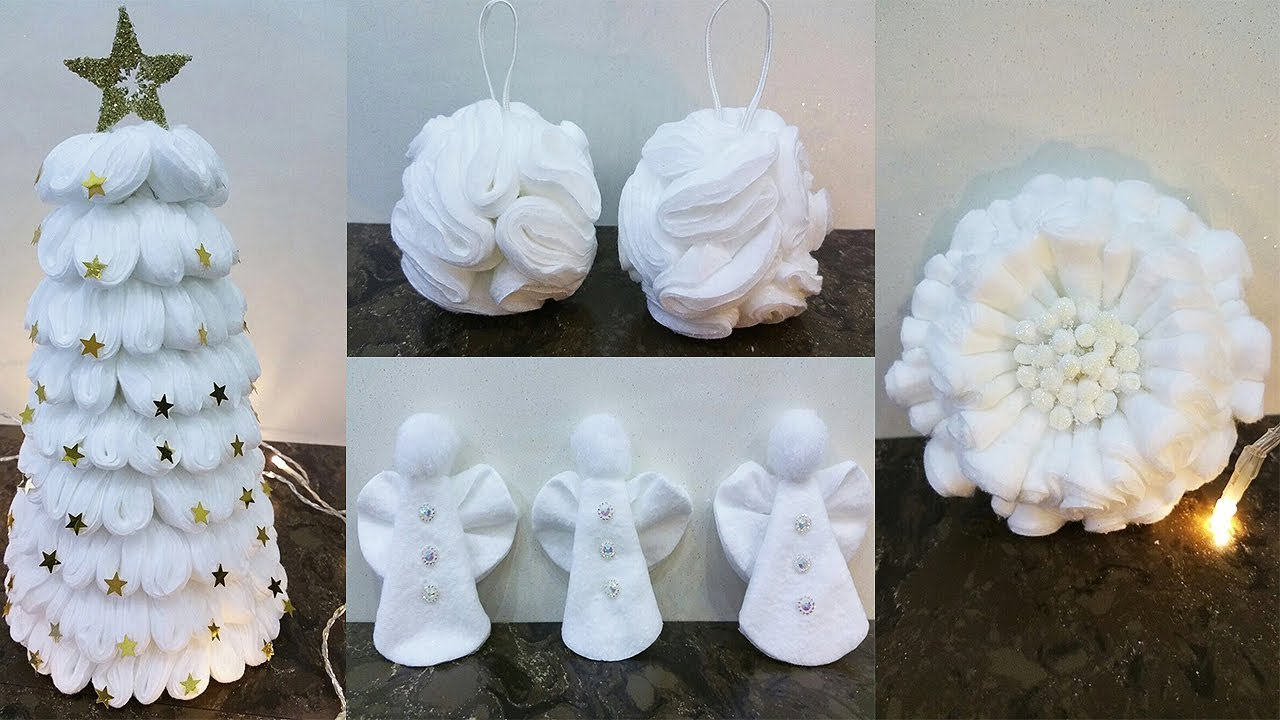 DIY How to make 4 Christmas decorations with from remover pads eye make  YouTube