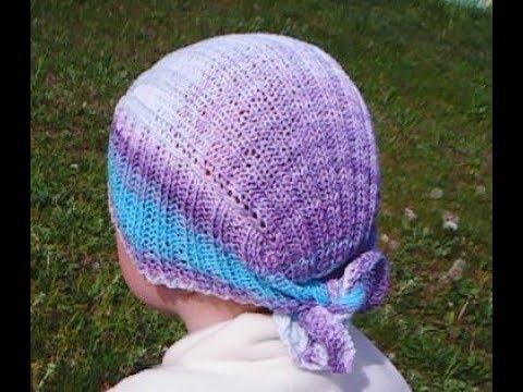 Вязаная шапка бандана спицами женская