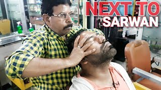 ASMR head massage and neck cracking by new indian barber( No honk, no talking)