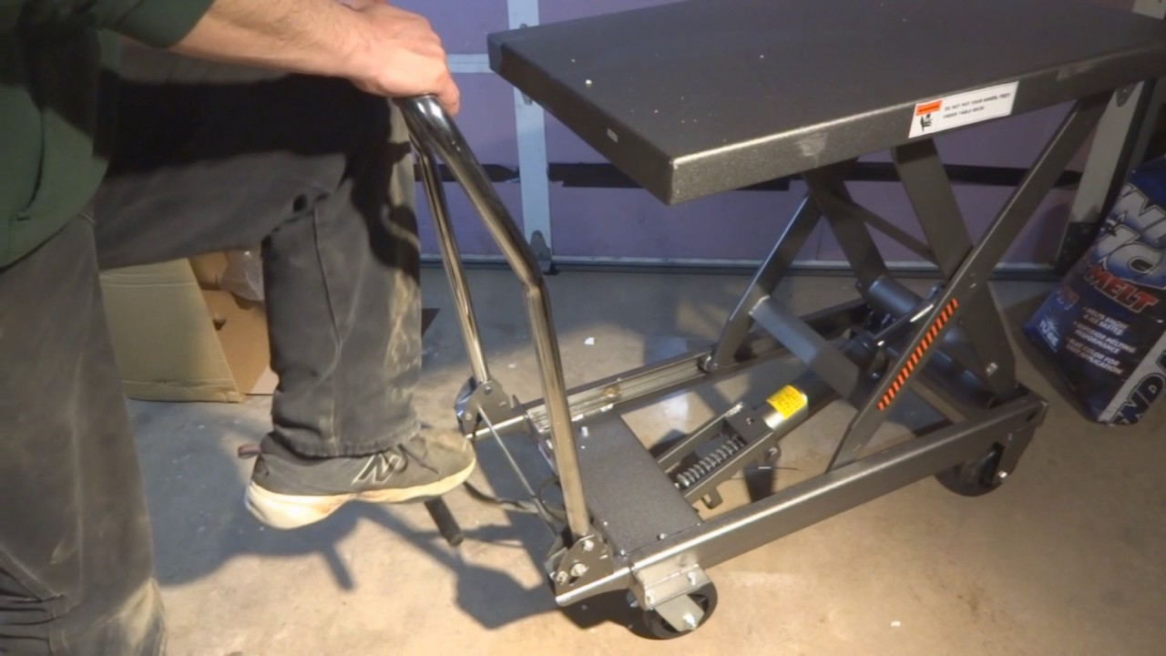 Table Hydraulic Lift Diagram : Harbor freight lb lift table unboxing assembly and