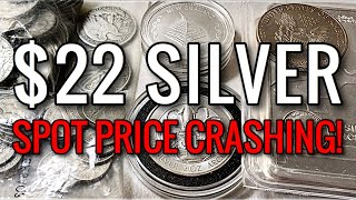 Silver FALLS to $22/oz! Spot Price is CRASHING... What Will I Do?