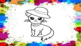 Как нарисовать КОШКУ/Рисунок-раскраска для детей/How to draw a cat