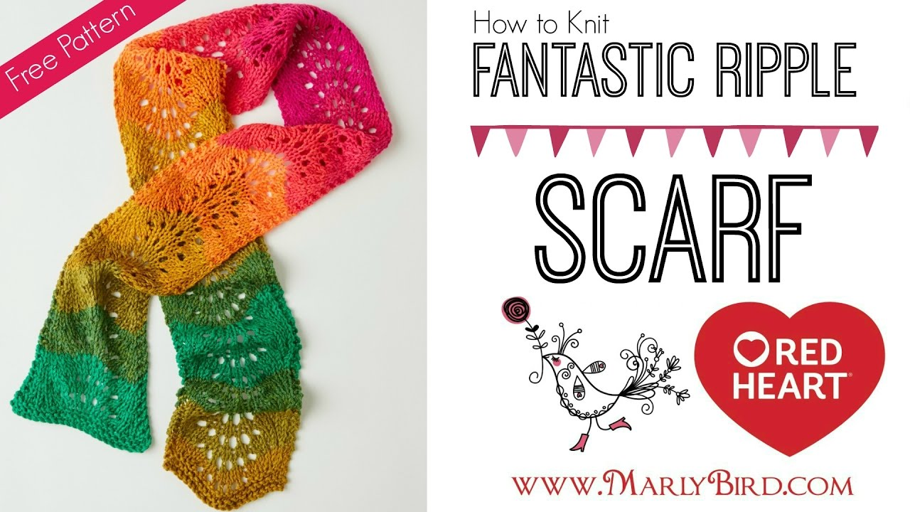How to Knit Fantastic Ripple Scarf Easy Lace - YouTube