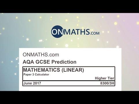 2017 AQA Paper 3 Predicted Higher Maths GCSE Paper Calculator Exam 8300/3H