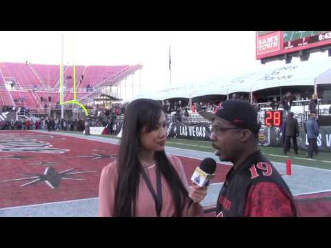 TEARY-EYED DONNEL PUMPHREY SR REACTS TO SON BREAKING RON DAYNE'S RECORD AT LAS VEGAS BOWL