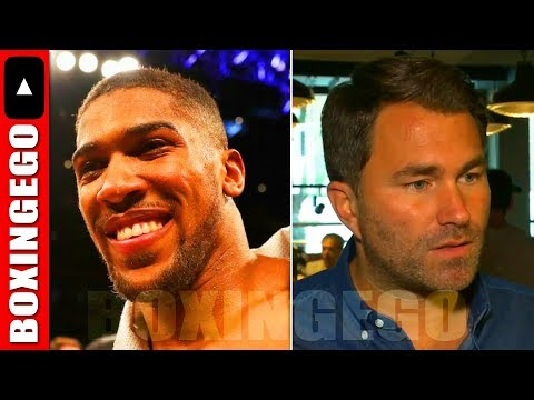 """HEARN CLAIMS DEONTAY WILDER FIGHT IS """"EVERYTHING"""" TO ANTHONY JOSHUA BUT REFUSES 2LET HIM HAVE 8WK..."""
