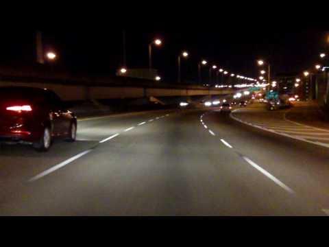 Crescent City Connection Bridge eastbound/inbound (Night)