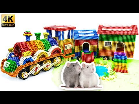 DIY - Build Amazing Hamster Playground Train House With Magnetic Balls (Satisfying) - Magnet Balls