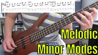 the modes of the melodic minor scale - bass practice diary - 30th april 2019