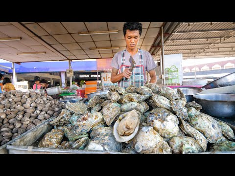 Street Food OYSTER BAR Seafood Mountain in Southeast Asia