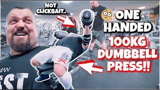 ONE HANDED 100KG DUMBBELL PRESS?! ft Powerlifter Sam Parker