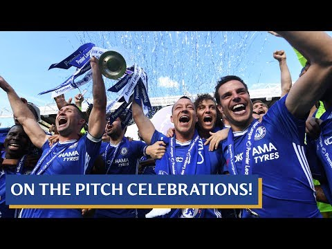 On the pitch scenes as John Terry and the players celebrate winning the league