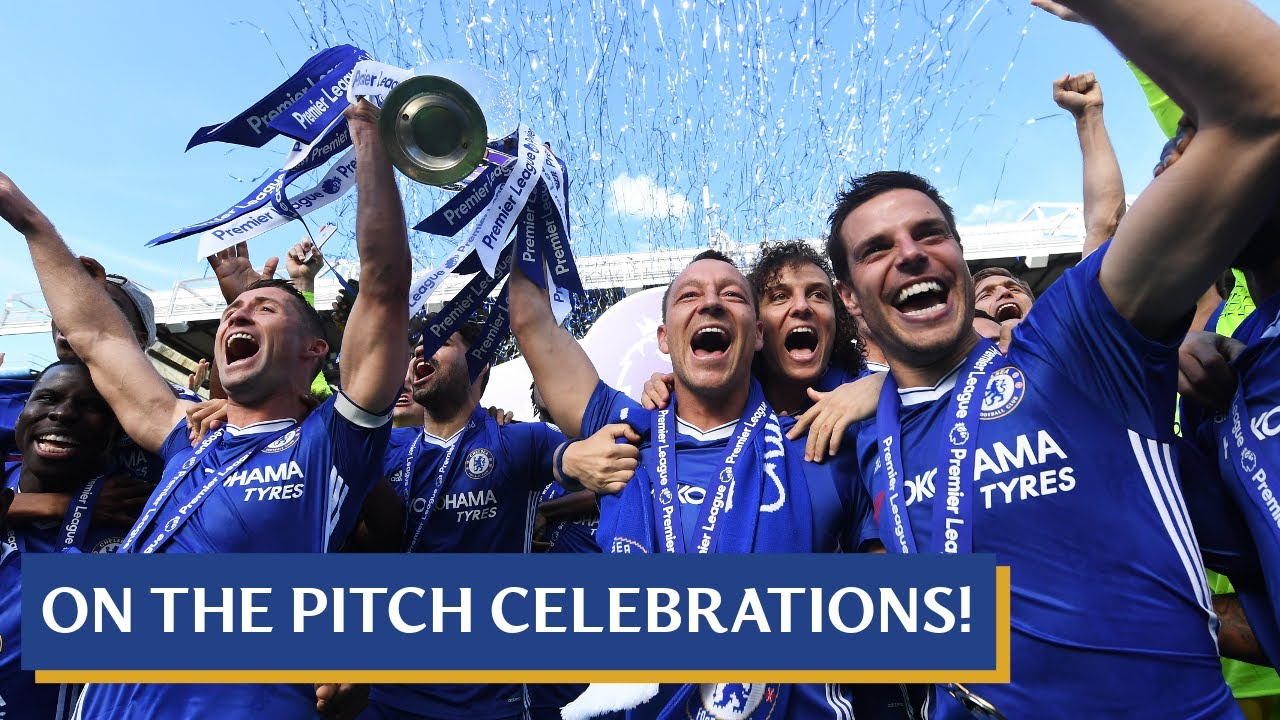 Chelsea are 2016-17 Premier League Champions! | On the pitch celebrations  with the team - YouTube