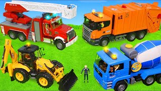 Garbage Trucks, Concrete Mixer, Fire Truck, Tractor, Police Cars & Excavator Toy Vehicles for Kids