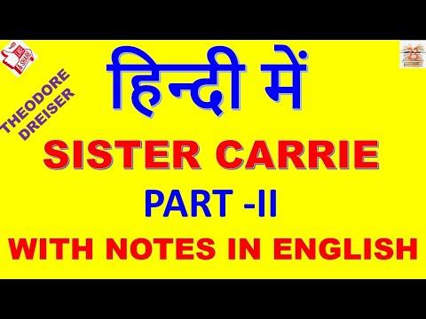Sister Carrie In Hindi  # Theodore Dreiser Part - II  American Novel  / MA ENGLISH / MA  / IGNOU
