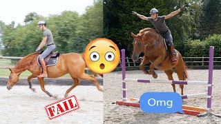 JUMPING MY HORSE WITH NO BRIDLE...(out of control)