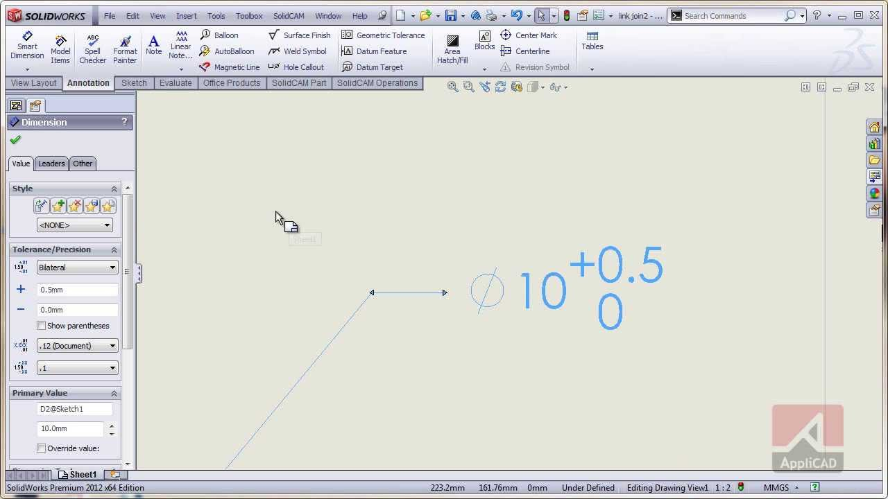 Dimension font hight in SolidWorks
