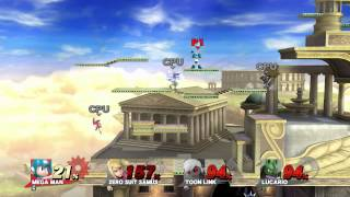 Super Smash Bros. for Wii U: 4-player CPU match @ Palutena