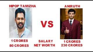 HIPOP TAMIZHA ADHI VS ANIRUTH,salary,hits comparison