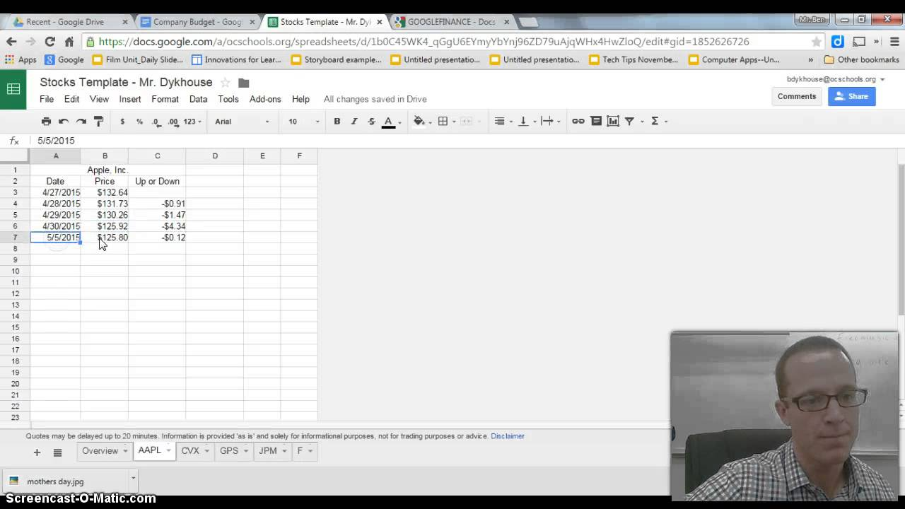 Using the Google Finance Function on Google Sheets - YouTube