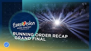 OFFICIAL RECAP: The 26 participants in the Grand Final of the 2018 Eurovision Song Contest