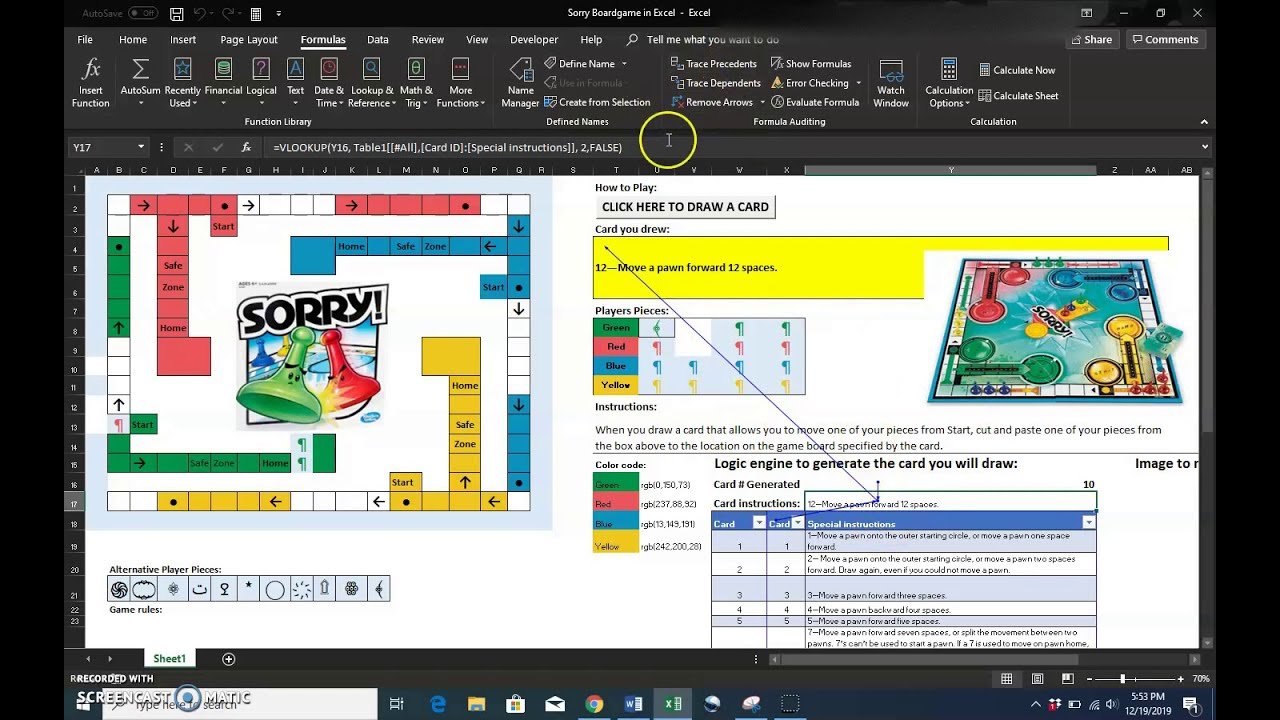 Creating The Board Game Sorry Board In Excel Game Designers Hub