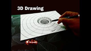 How To Draw 3D Hole for Kids - Optical illusion - 3D Trick Art on paper