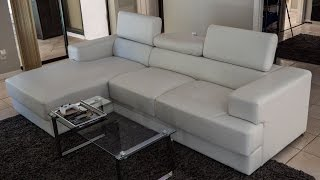 [REVIEW] US Pride Furniture Gabriel White Leather Contemporary Chaise Sectional Sofa Set