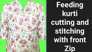 Feeding kurti cutting and Stitching with front zip / VANSHIKA FASHION