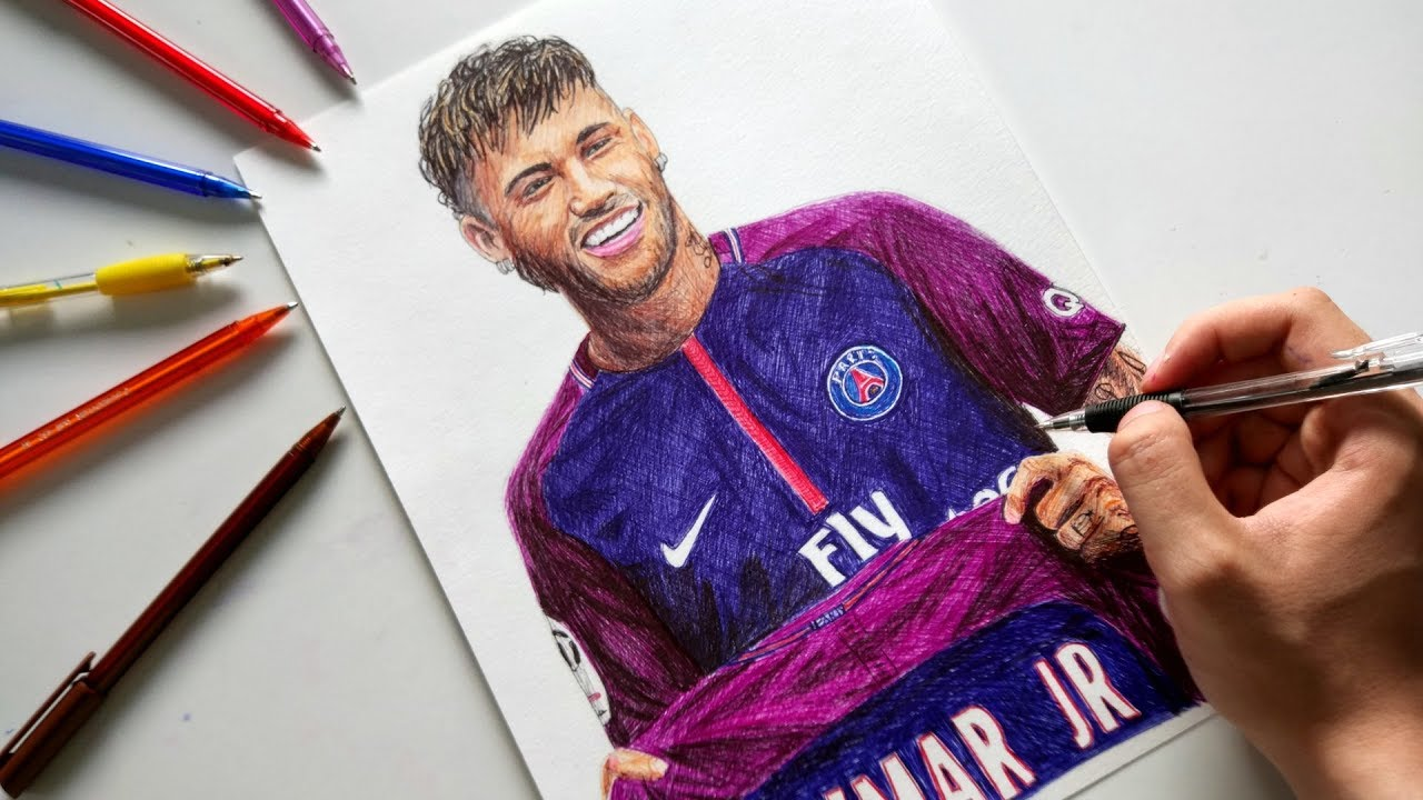 how to draw neymar and messi