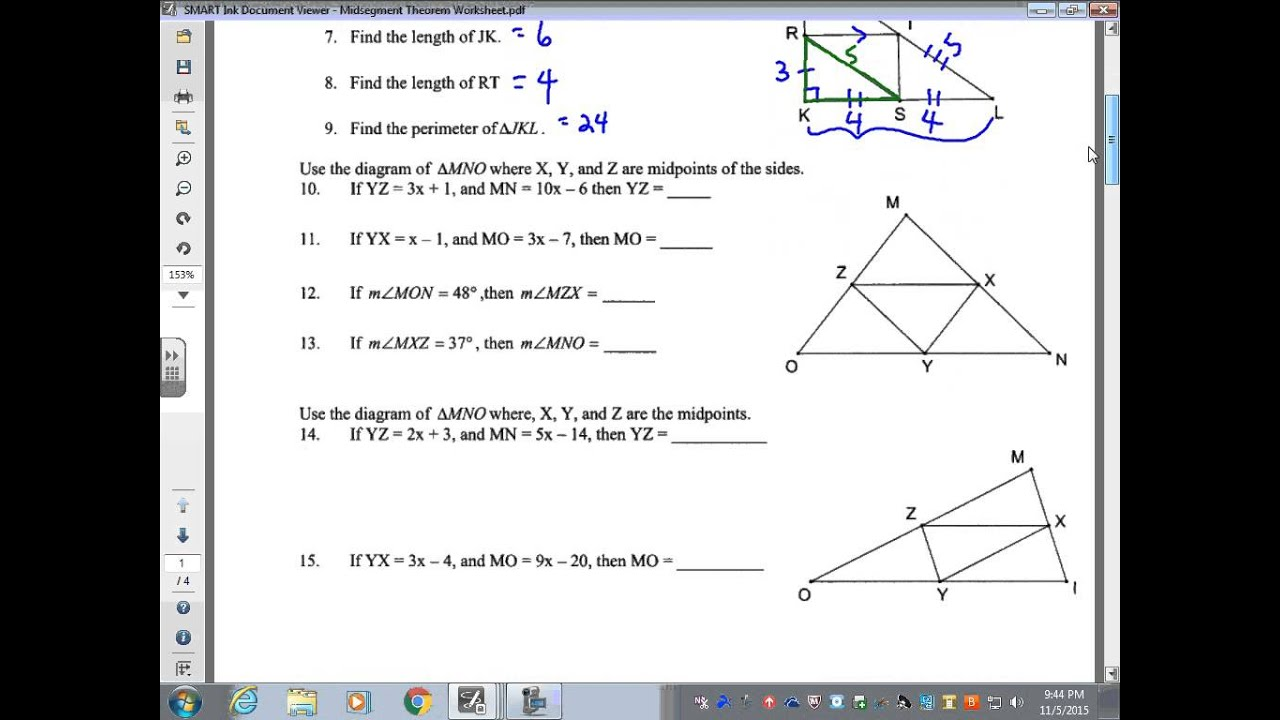 November 9 Midsegment Theorem Worksheet - YouTube
