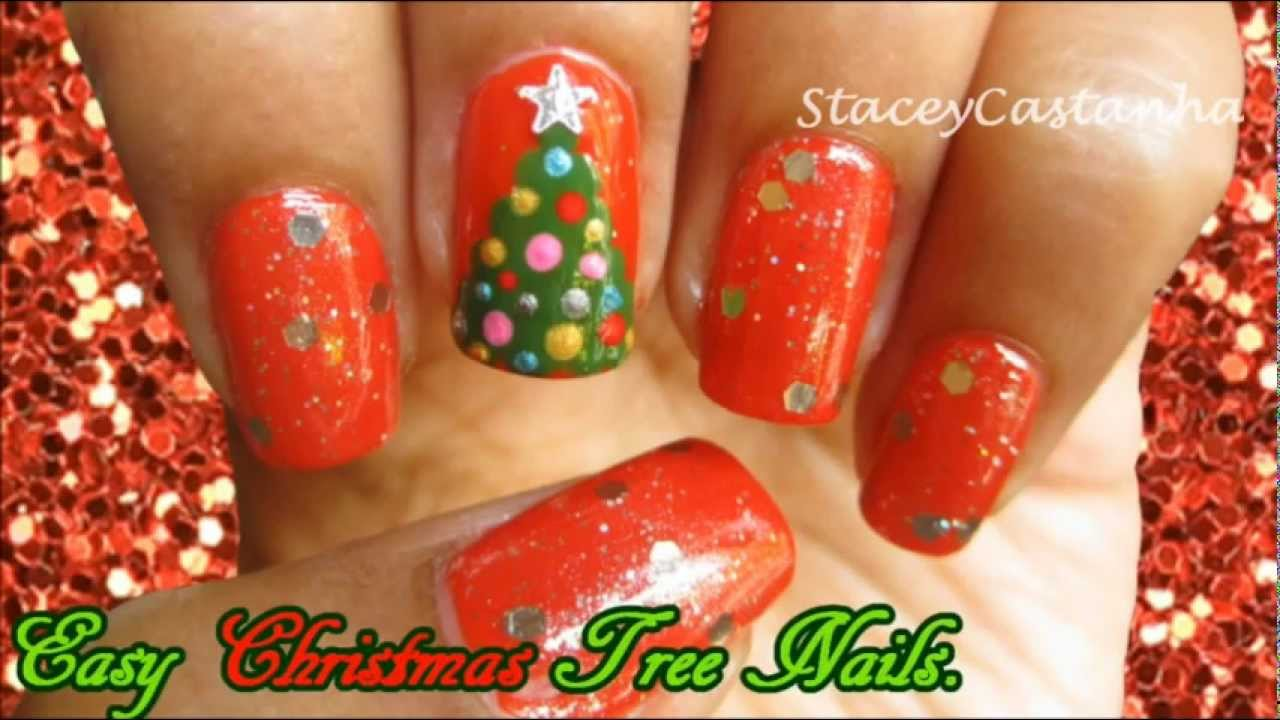 CHRISTMAS NAIL ART | Easy Christmas Tree Nail Art Tutorial - YouTube