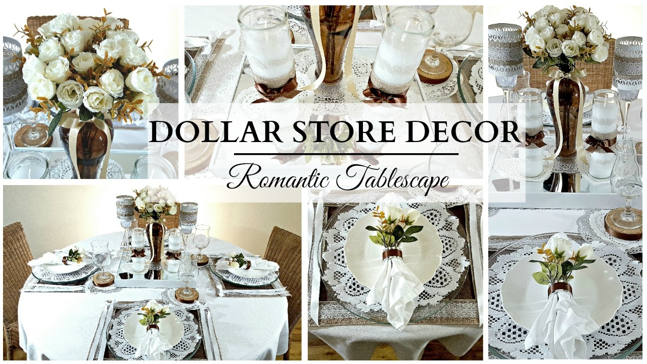 Dollar Store Home Decor NEUTRAL Romantic Tablescape