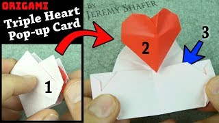 Origami TRIPLE Heart Pop-up Card!