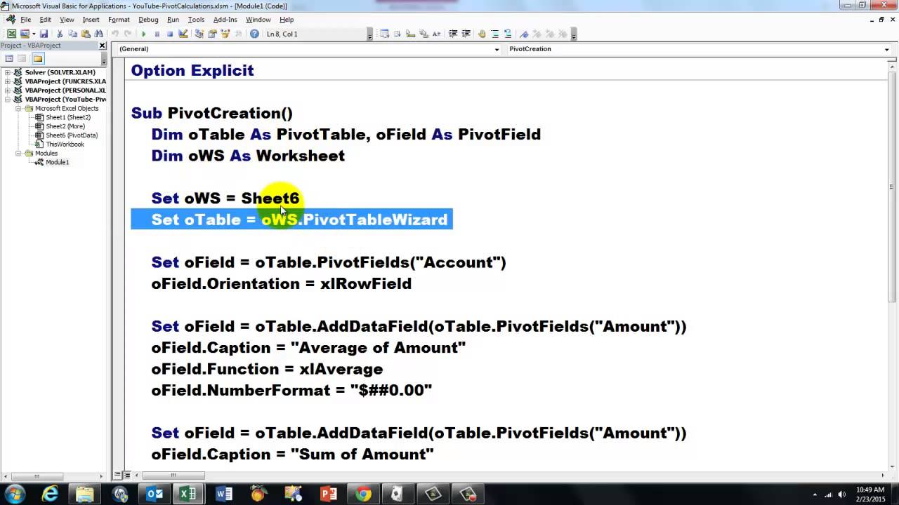 pivot table calculations manually or with vba youtube rh youtube com turn on manual calculation vba workbook calculation manual vba