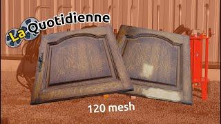 La quotidienne : Aérogommage sur chêne B-B_6 avec du garnet 120 Mesh