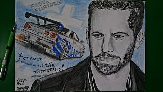Drawing/ Paul Walker and his Skyline / Memory