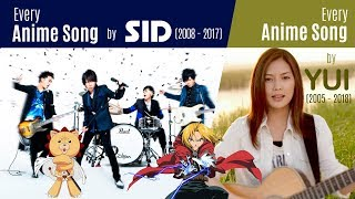 Every Anisong by SID (2008-2017) + YUI (2005-2018)