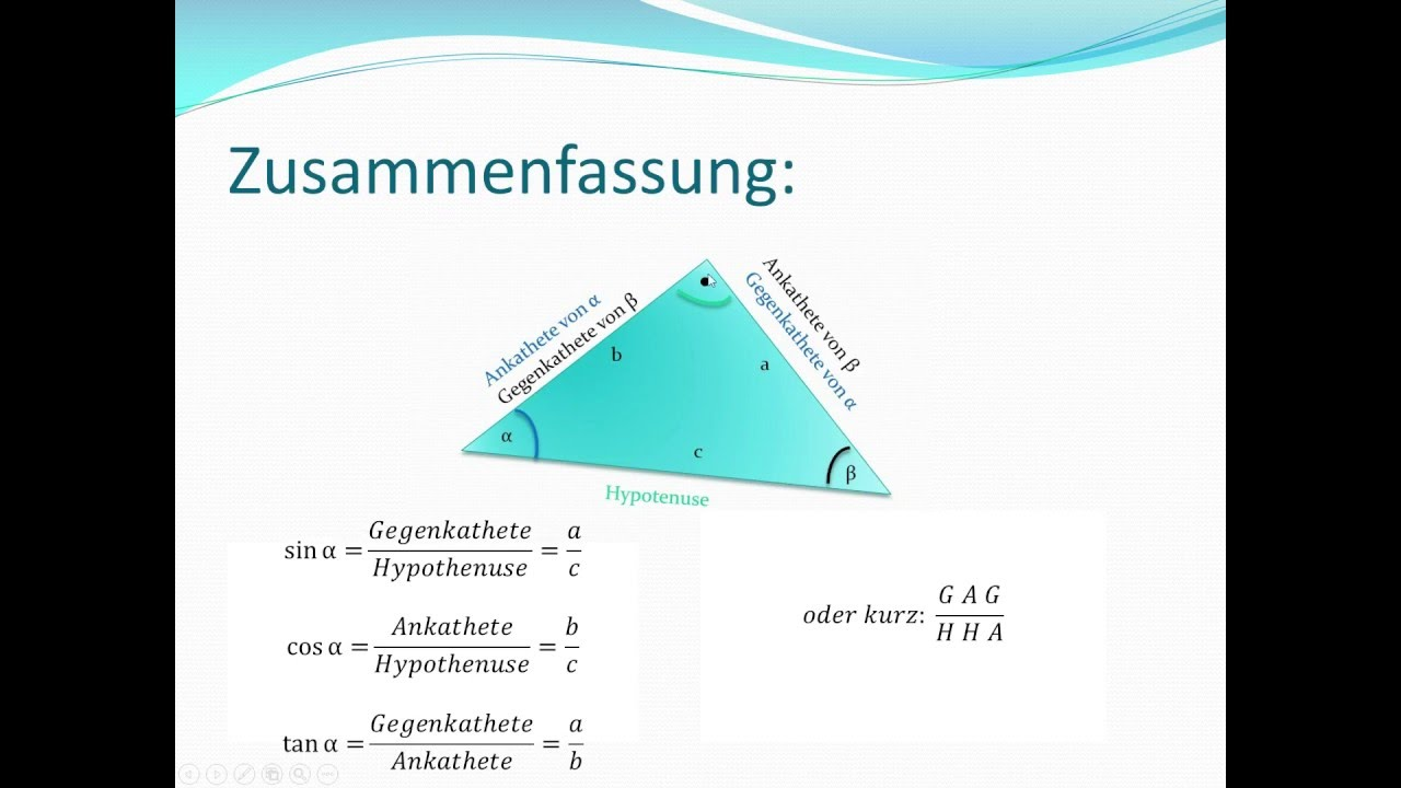 trigonometrie| rechtwinklige dreiecke seiten und winkel mit sin/cos